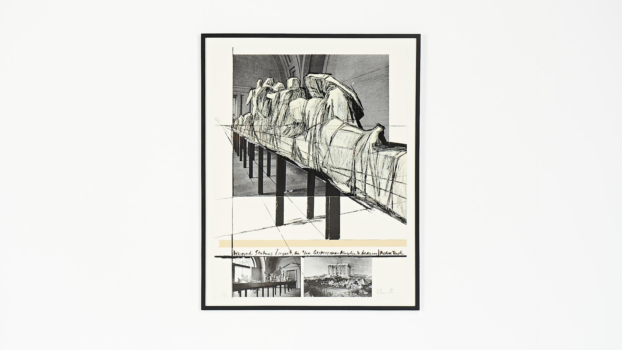 [:en]Wrapped Statues (Project for der Glypotek Munchen, W.Germany, Aegina temple) Vladimirov Javacheff christo jeanne-claude silkscreen collage[:]
